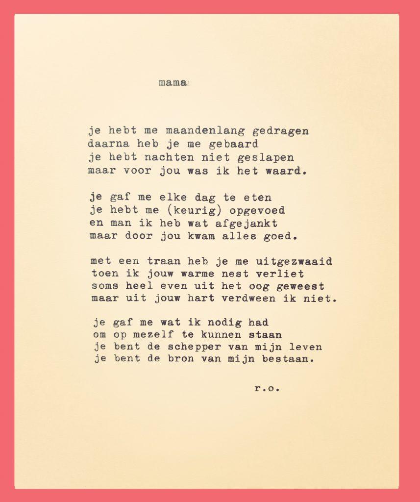 Vaak Uitgetypt gedicht - Mama | René Oskam @IL56